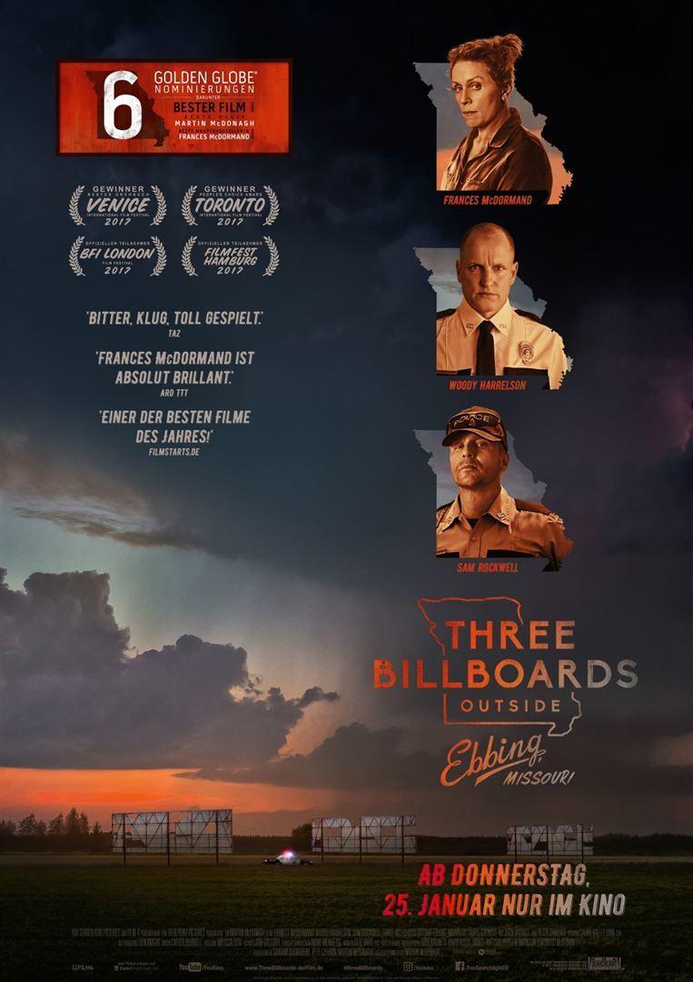 """Oscar-Kanditat: Zum Kinostart von """"Three Billboards Outside Ebbing, Missouri"""" verlosen wir ein Fan-Paket"""
