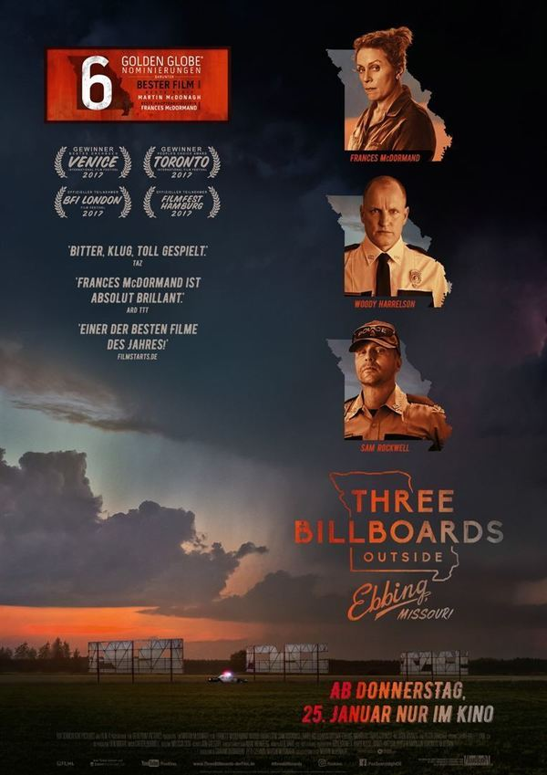 "Oscar-Kanditat: Zum Kinostart von ""Three Billboards Outside Ebbing, Missouri"" verlosen wir ein Fan-Paket"